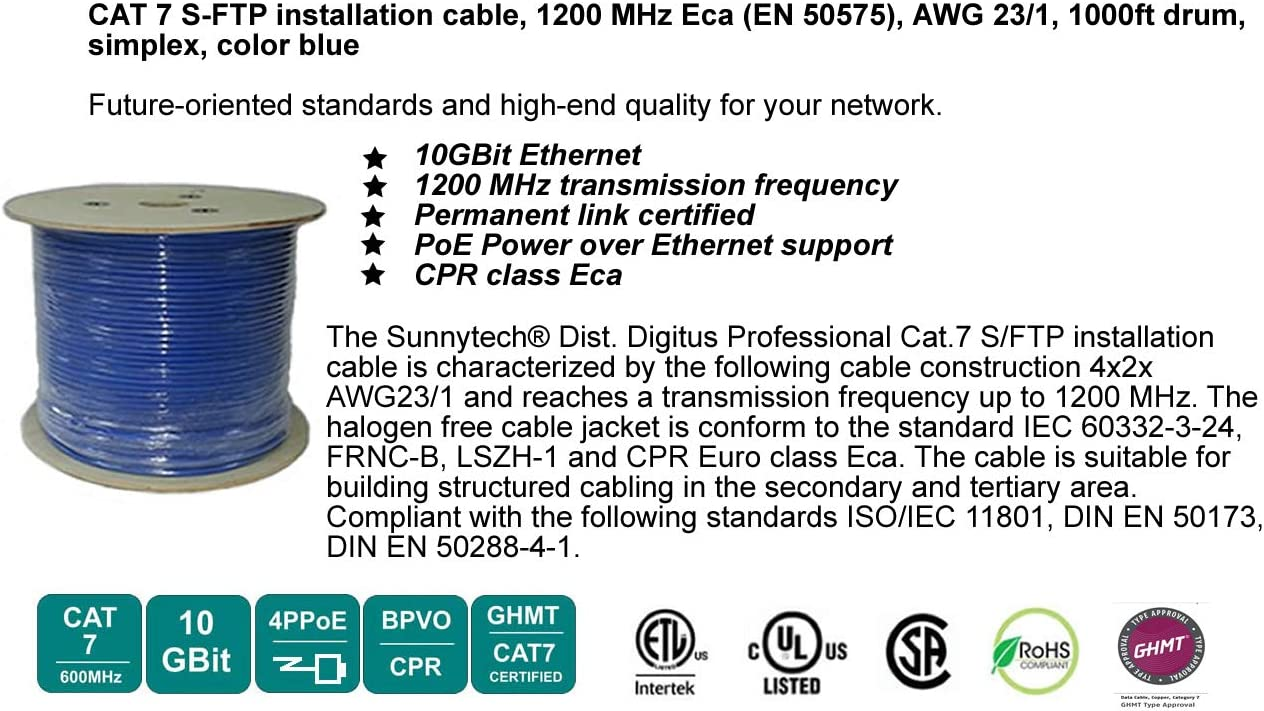 Amazon Com Sunnytech Cat7 1000ft S Ftp Twisted Pair 1200mhz 10gbase T Data Solid 23awg Installation Cable Drum Pack Ul Etl Ghmt Cat7 Certified Computers Accessories