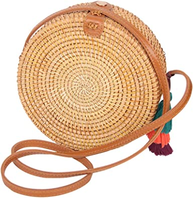 Matefielduk Bolso Redondo Mimbre Bolsa de Bandolera de Paja,Moda Bolso de Paja Mujer Alta Capacidad,bolsa de Playa Mujer Playa de Verano
