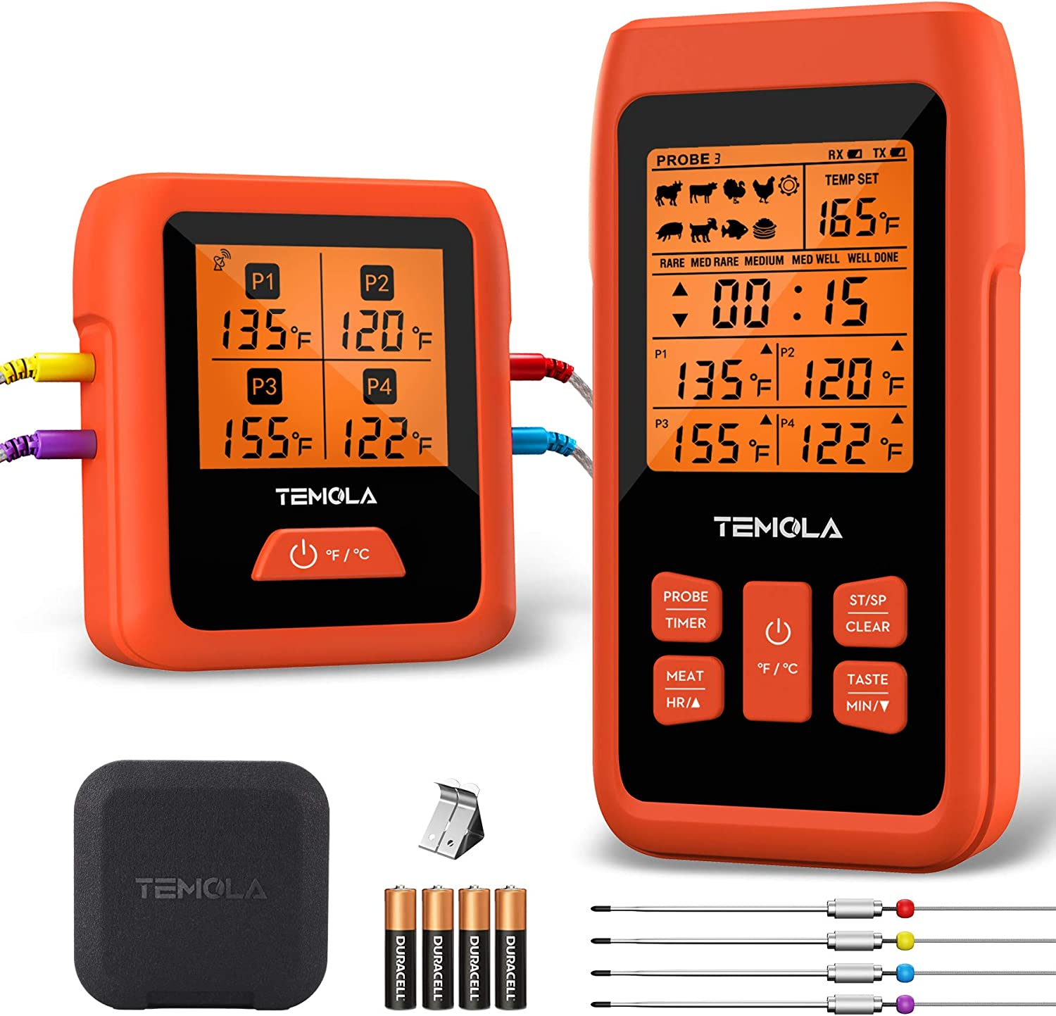 TEMOLA TM40 Wireless Digital Meat Thermometer, Instant Read Remote Cooking Food Thermometer with 4 Probes & Real 490Ft 180° FSTN Clear Wideview for Smoker Oven Grill BBQ Candy Kitchen Timer (Orange)