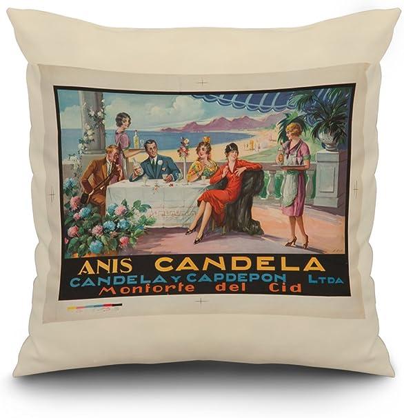 Anis Candela Vintage Poster (artist: Pin) Spain c. 1924 (16x16 Spun Polyester Pillow Cover, Black Border): Amazon.es: Hogar