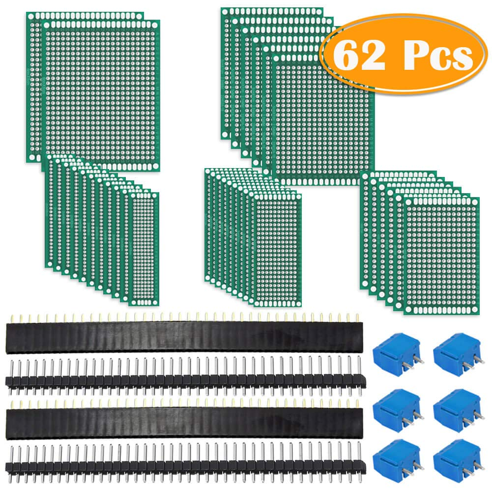 Paxcoo 62Pcs PCB Board Kit Includes 32Pcs Double Sided Prototype Boards, 20Pcs Header Connector and 10 Pcs Screw Terminal Blocks