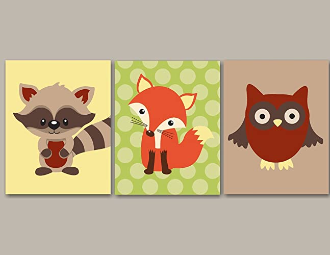 Amazon.com: Woodland Nursery Wall Art,Forest Friends Nursery Wall ...