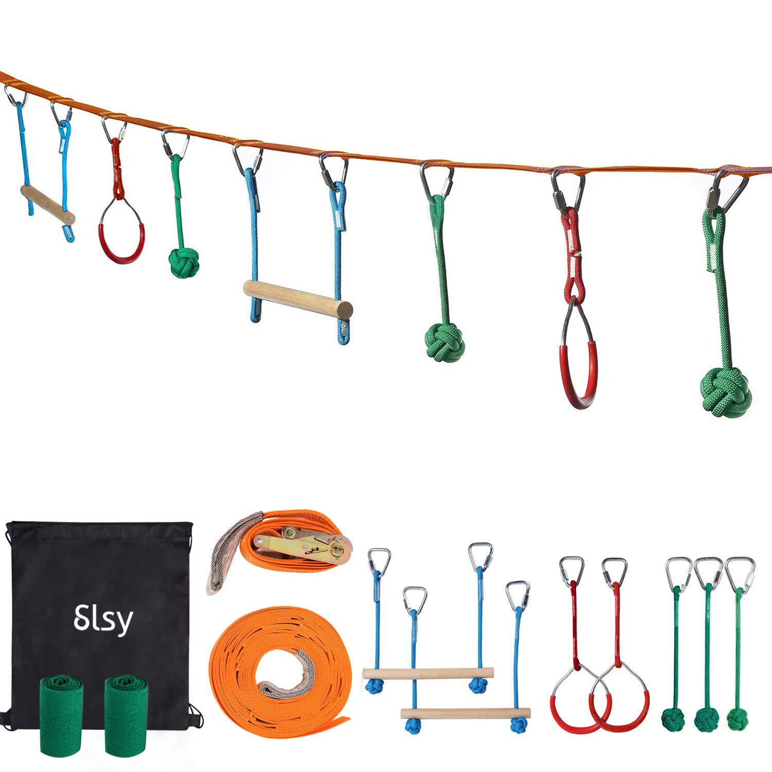 Slsy Ninja line Monkey Bar Kit 40 Foot, Kids Slackline Hanging Obstacle Course Set Warrior Training Equipment for Backyard Outdoor Playground, with Gym Rings, 440lb Capacity, Carrying Bag by Slsy (Image #1)