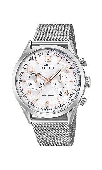 Lotus Watches Reloj Cronógrafo para Hombre de Cuarzo con Correa en Acero Inoxidable 18555/1: Amazon.es: Relojes