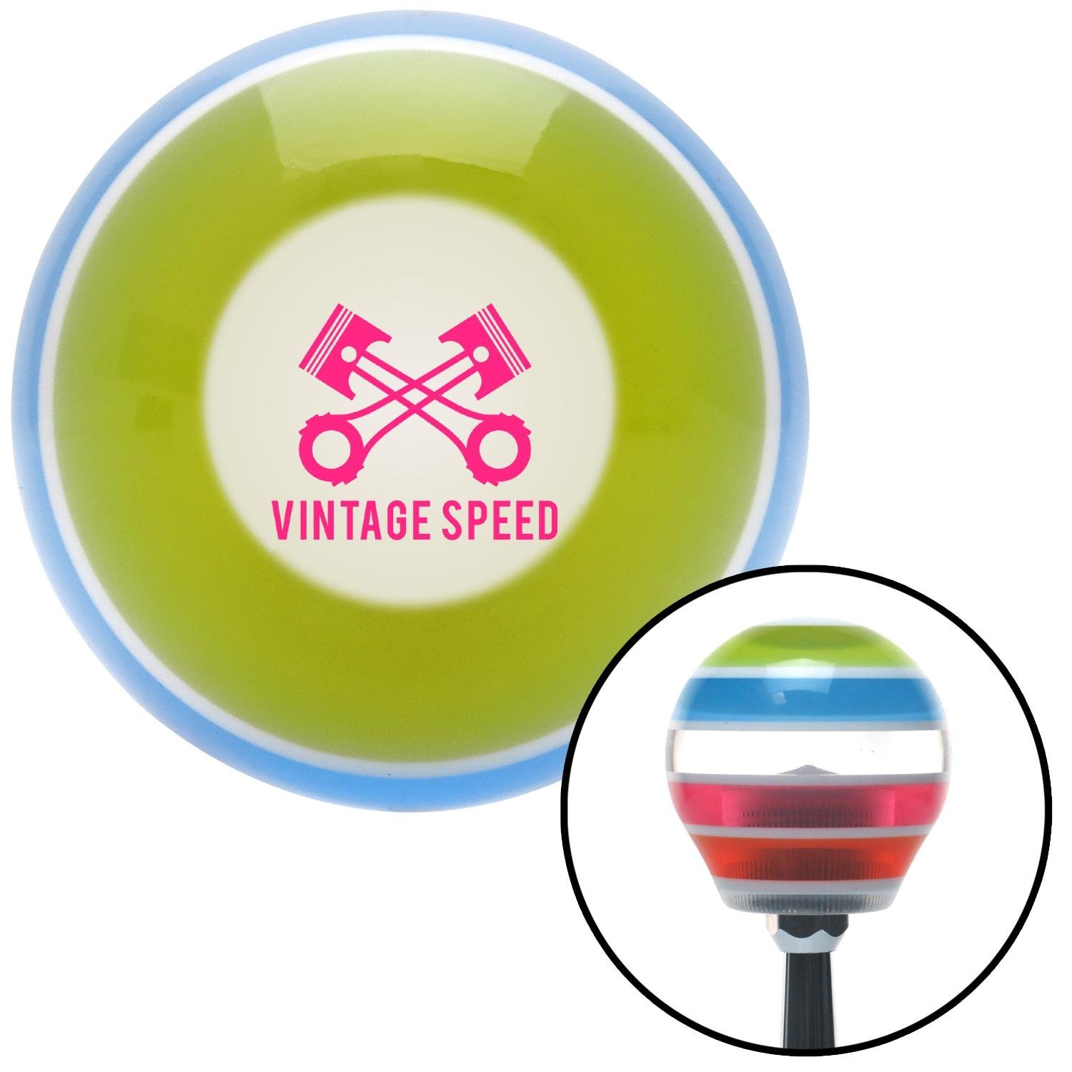 American Shifter 273509 Pink Vintage Speed Stripe Shift Knob with M16 x 1.5 Insert