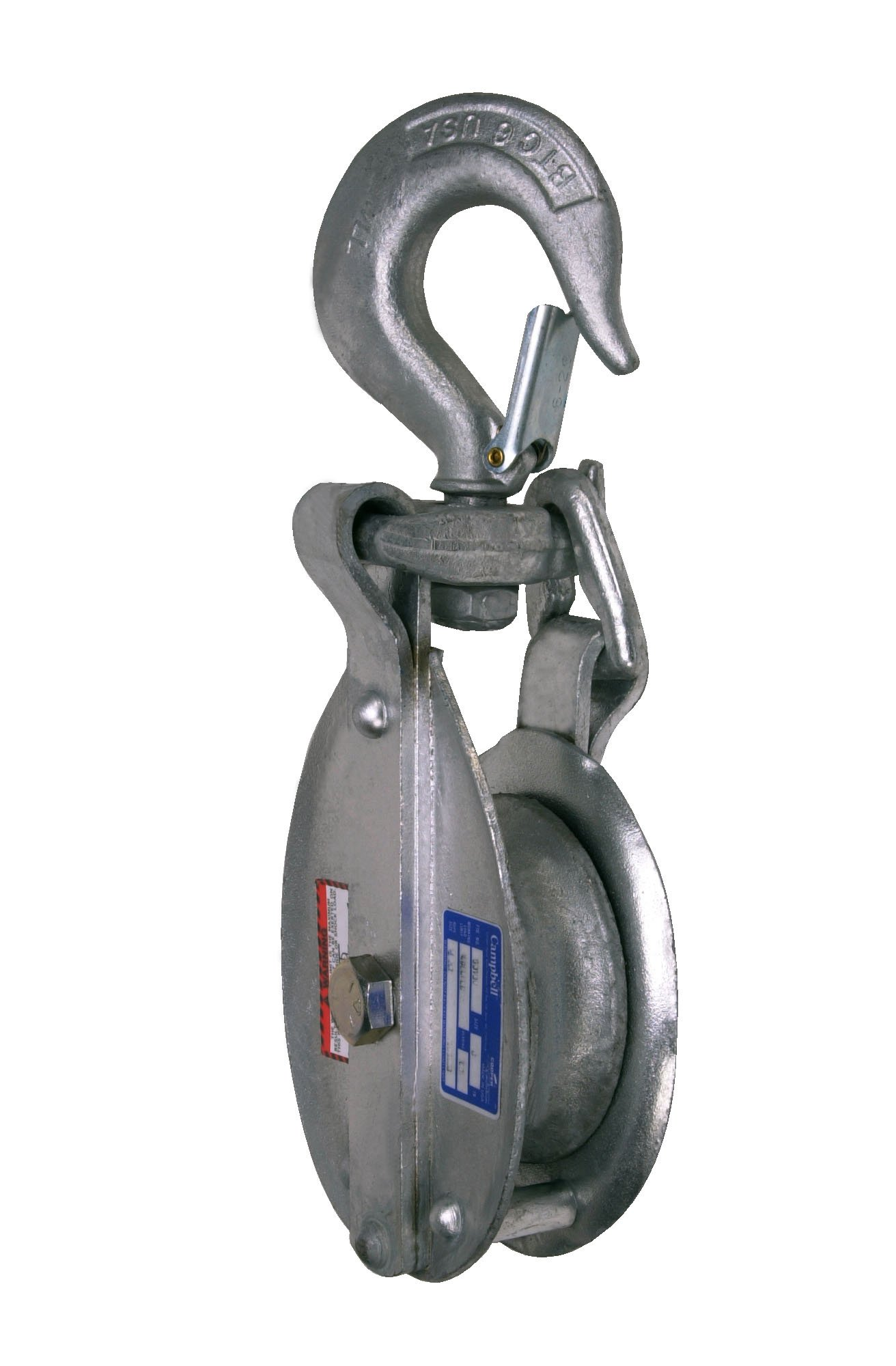Campbell 3073V 8'' Single Steel Drop Link Snatch Block with Stiff Swivel V Latch Hook, 4800 lbs Load Capacity, 4-1/2'' Sheave