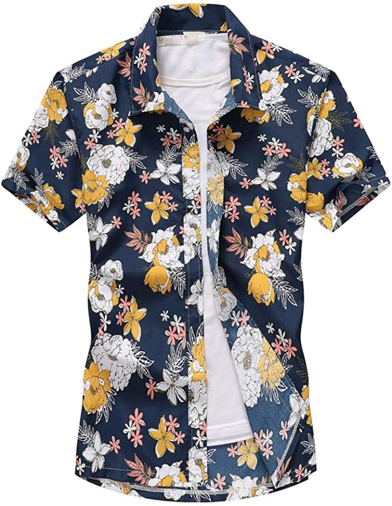 Asian-Size8,L QHF Mens Hawaiian Printed Shirt Beach Shirts Printed Short Sleeve Button Down