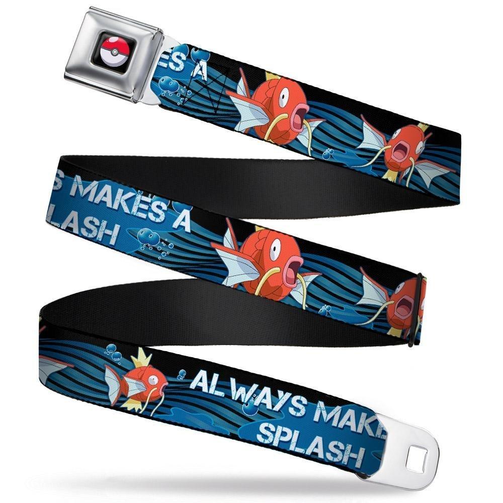 20-36 Inches in Length Magikarp Swimming2 ALWAYS MAKES A SPLASH Black//Blues//White Buckle-Down Seatbelt Belt 1.0 Wide