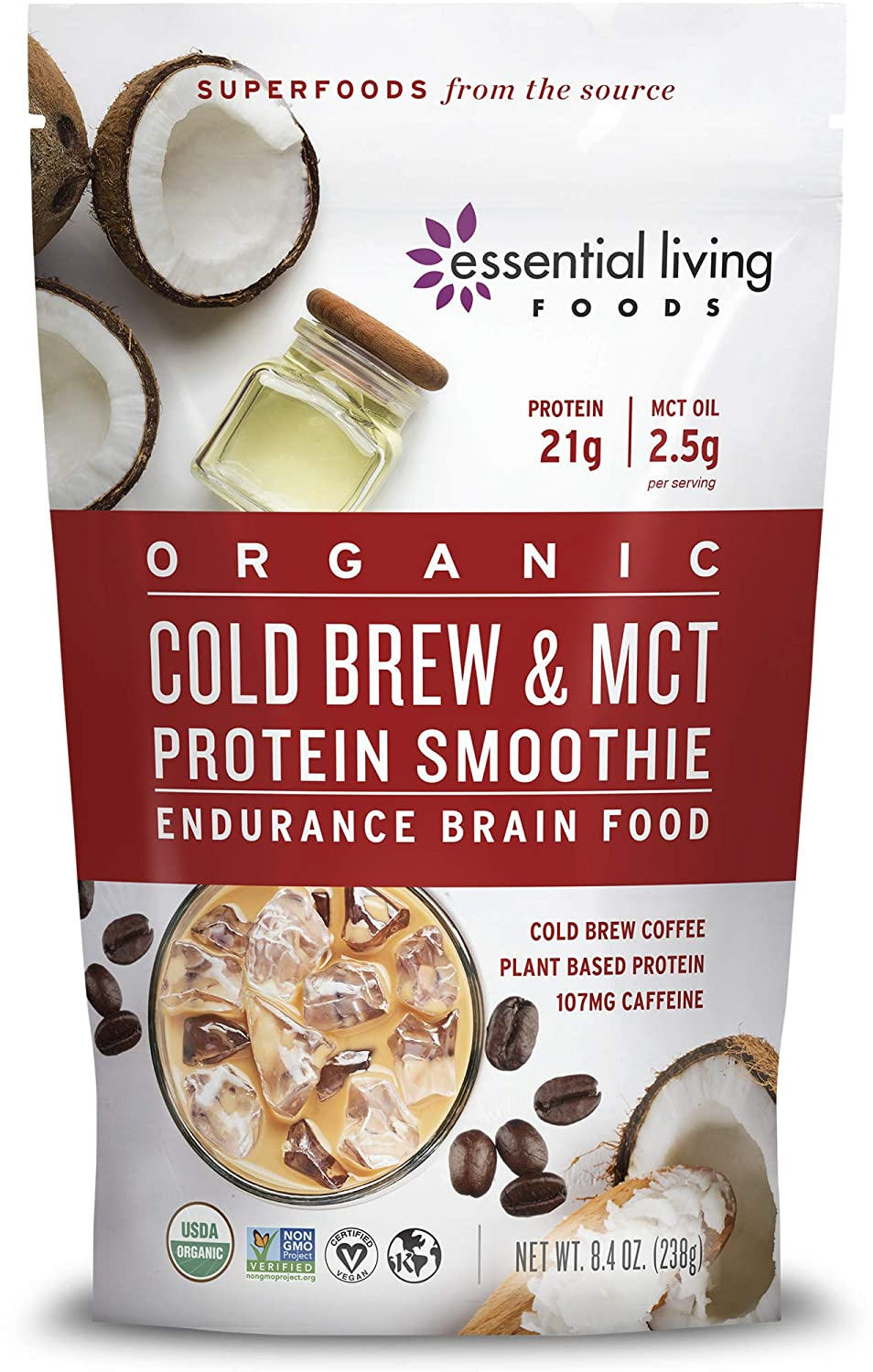 Essential Living Foods - Organic Cold Brew & MCT Plant Based Coffee Protein Powder - Vegan Protein Powder, Gluten Free, Dairy Free, Soy Free, Non GMO (7 Servings, 8.4oz) x 6 pack Resealable Bags