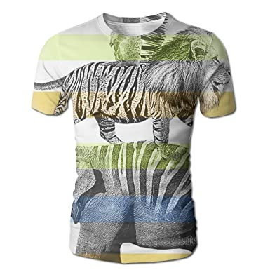 dc48ebda Amazon.com: Animal With Zebra Tattoo Men's Tee Fashion Mens Short ...
