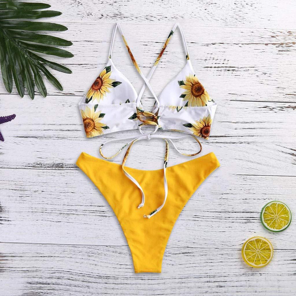 Best SENDRY Women Print Push-Up Sunflower Padded Bra Beach Bikini Set Swimsuit Beachwear Swimwear