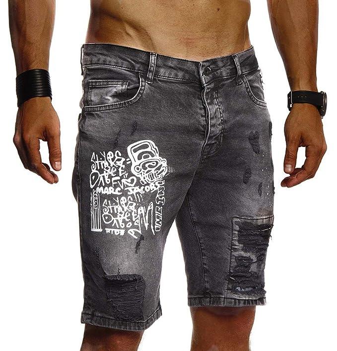 LEIF NELSON Pantalones Vaqueros Cortos Hombres Verano Pantalones Cortos Pantalones de Ciclista Basculador los Pantalones