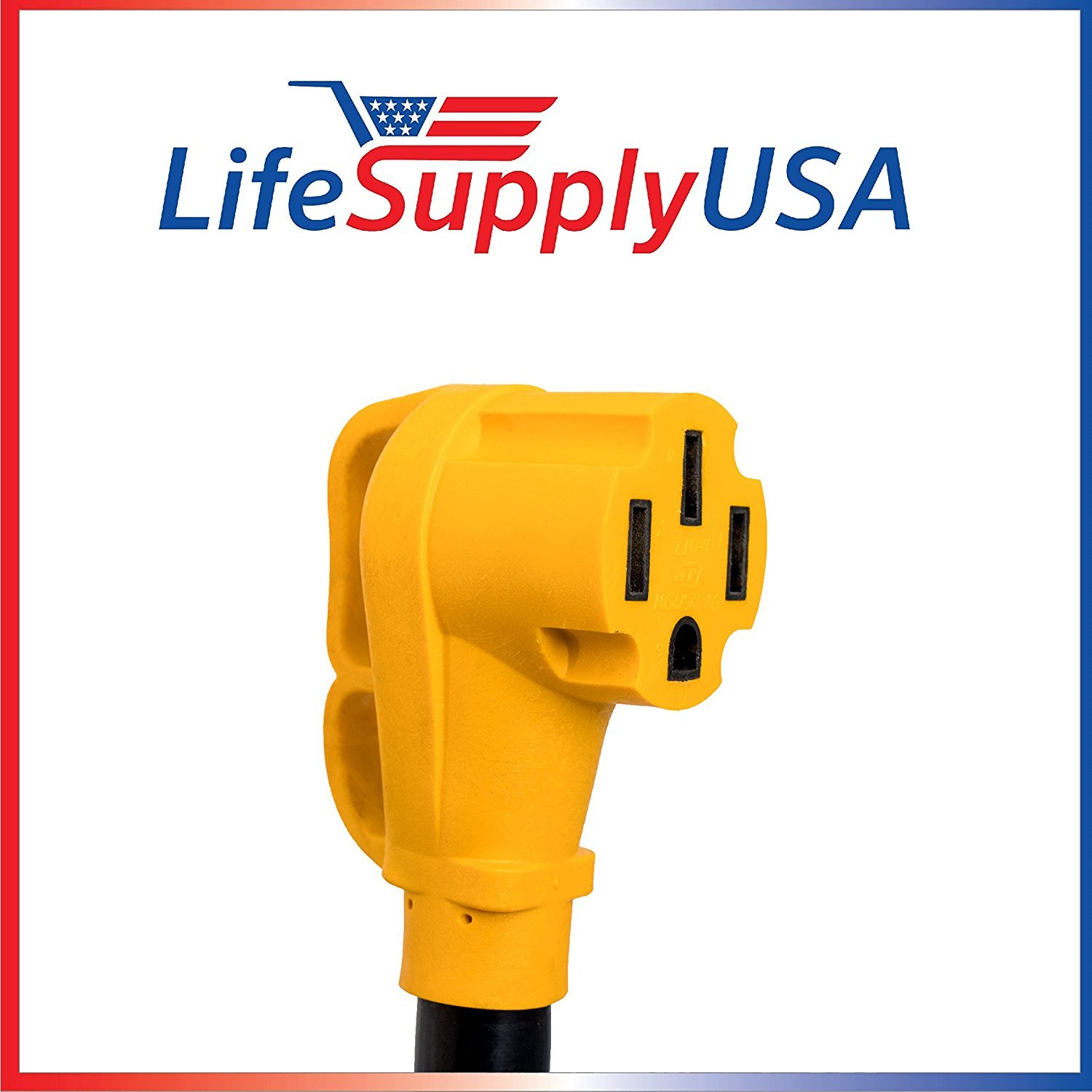 Hook and Loop Strap 14-50P 30ft 50 Amp 6//8-Gauge RV Extension Cord with Handles 14-50R 6AWG3+8AWG1 125//250V STW 30 Feet LifeSupplyUSA