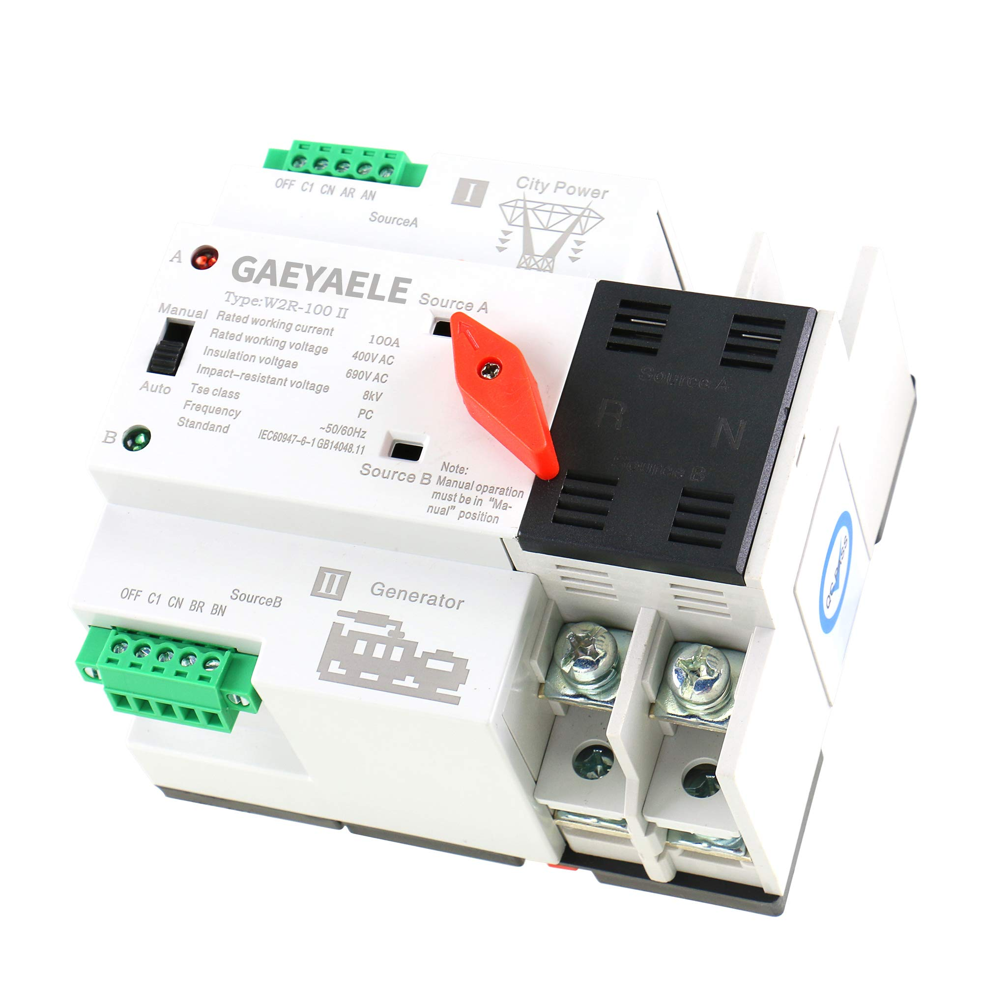 GAEYAELE W2R Mini ATS 2P Automatic Transfer Switch Electrical Selector Switches Dual Power Switch Din Rail Type ATS 63A 100A (W2R 2P 100A) by GAEYAELE
