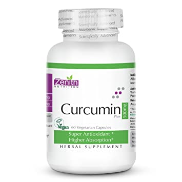 Zenith Nutritions Curcumin Plus (With Piperine) 500 Mg - 60 Veg Capsules Vitamins, Minerals & Supplements at amazon