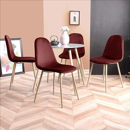 FURNISH1 Lot de 4 Chaises de Style Scandinave avec Une Assise et Dossier recouverts de Velours Bordeaux, des Pieds en métal avec finiton Imitation