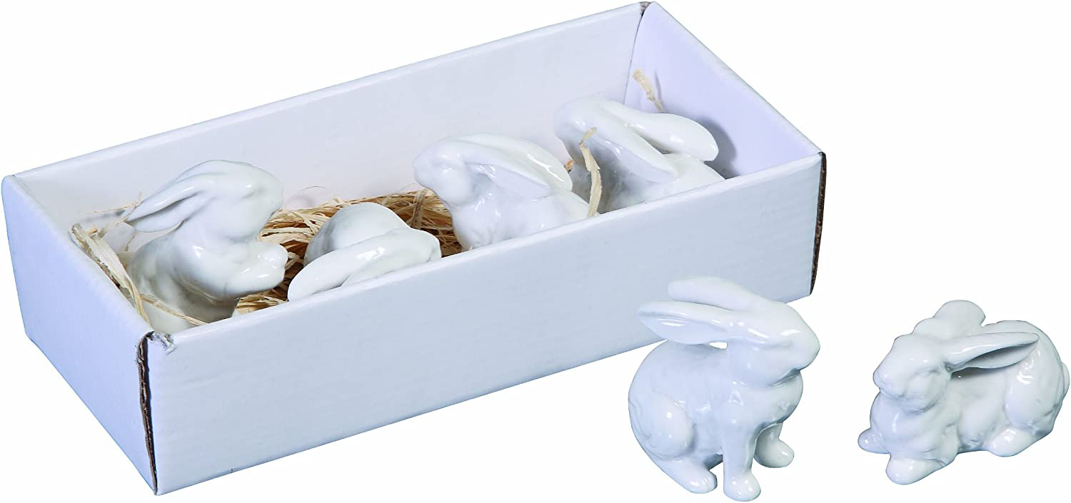 Creative Co-op White Ceramic Bunnies (Set of 6 Pieces)