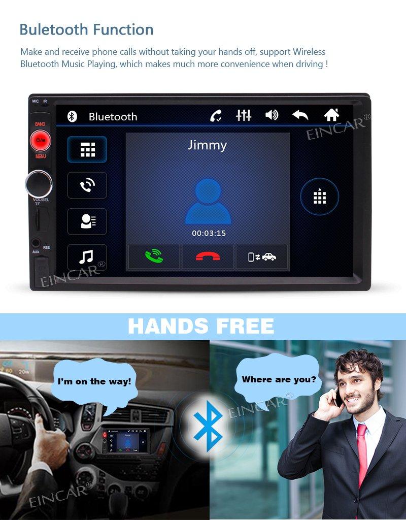 7 inch Double Din Touchscreen in Dash Stereo Car Receiver Audio Video Player Bluetooth FM Radio Mp3 MP5 // TF//USB//AUX//Steering Wheel Controls LTD Remote Control EGood CO EINCAR Car Rear View Camera PTT.MP5.7020NNN+FCAM13