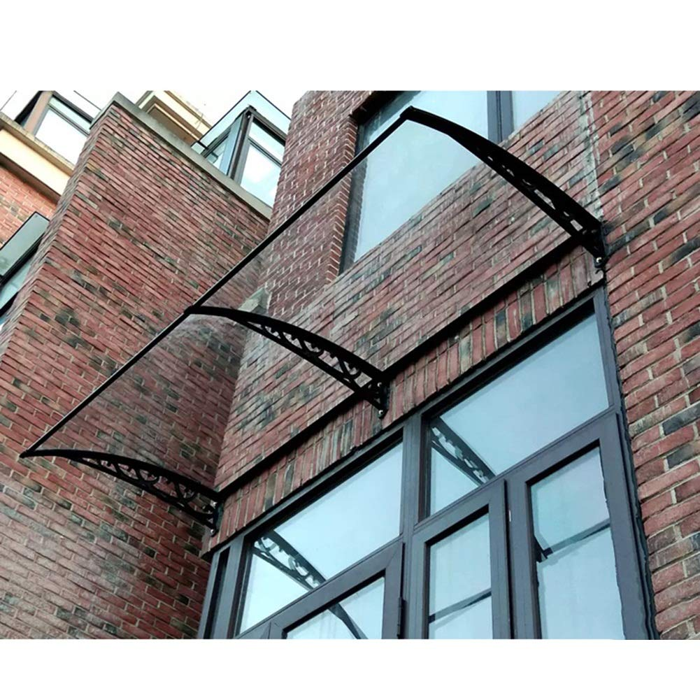 Canopy + Extension Door Canopy Porch Shelter QIANDA Smoking Area Rain Shelter Outdoor Awning Window Cover Sun Protector Color : Black bracket, Size : 60cmx120cm
