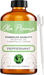 Ola Prima 8oz - Premium Quality Peppermint Essential Oil (8 Ounce Bottle) Therapeutic Grade Peppermint Oil