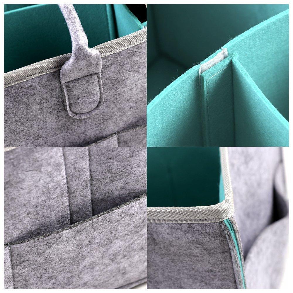 Cyan GoodFaith8/Baby Diaper Caddy Portable Couches Organiseur Feutre Panier Organiseur de Couches pour b/éb/é Lingettes Sac 38x27x18cm Grey