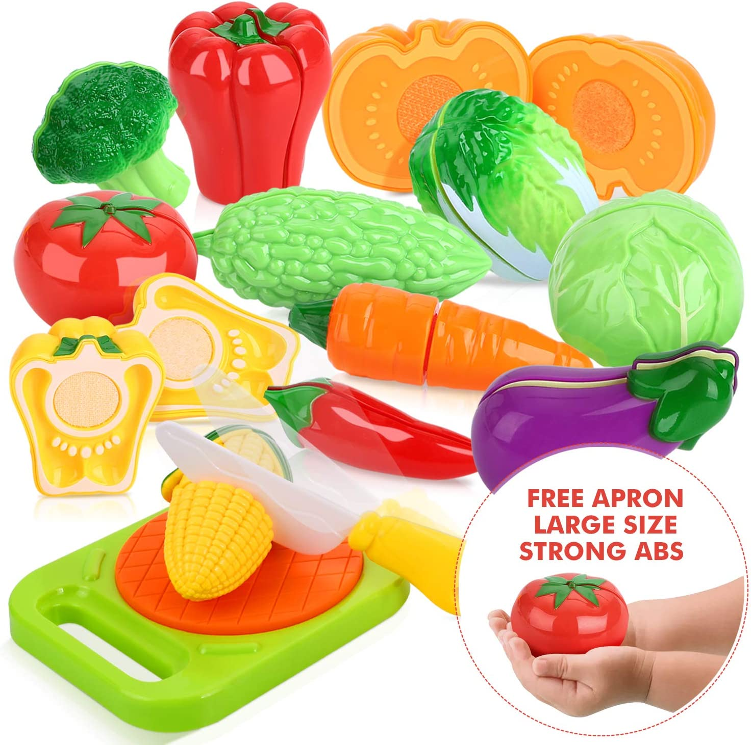 24Pcs Realistic Fruits Vegetables Plastic Cutting Kitchen Play Cooking Toys Kids