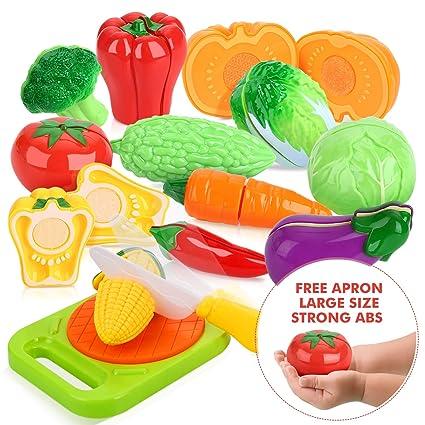 Peradix Frutas Y Verduras Juguete Para Cortar 14 Piezas Juego De Plastico Para Ninos Juguetes Eeducativos Set De Alimentos De Corte Juguete Del Bebe