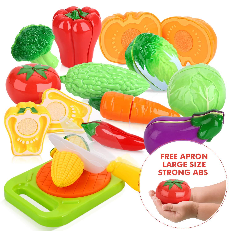 Peradix Juguetes Cortar Frutas Verduras Hamburquesa 14 piezas Juego de Plástico para Niños Juguetes Eeducativos Set