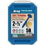 Kreg SML-C250B-50 2 1/2-Inch Blue-Kote Pocket Screws WR 8 Coarse, Washer-Head, 50 Count