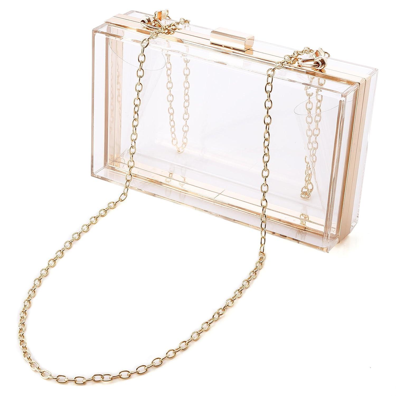 Sac de boîte en acrylique transparent 18x11x5cm avec chaînette en métal doré