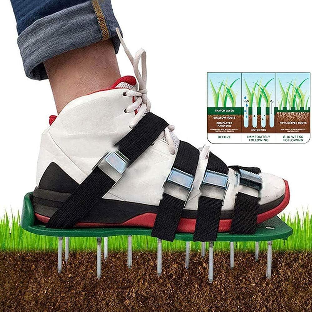 Zapatos de aireador de césped, correas ajustables para jardín, con espigas largas, para césped