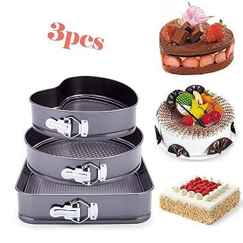 "3 Premium antiadherente Springform Cake Pan estanca Cheesecake Bakeware pan 9 ""Corazón 10"""
