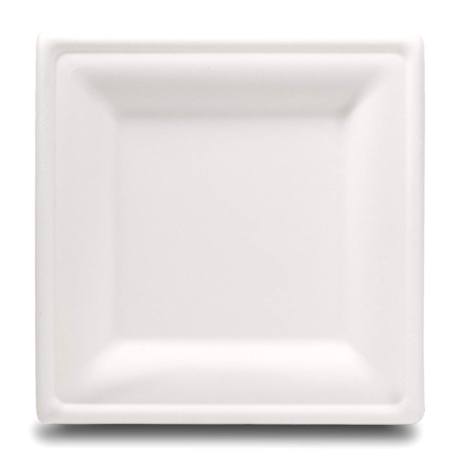 Select Settings [100 COUNT] Compostable Square Dinner Plates (10 Inch) made from bagasse (sugarcane fiber)