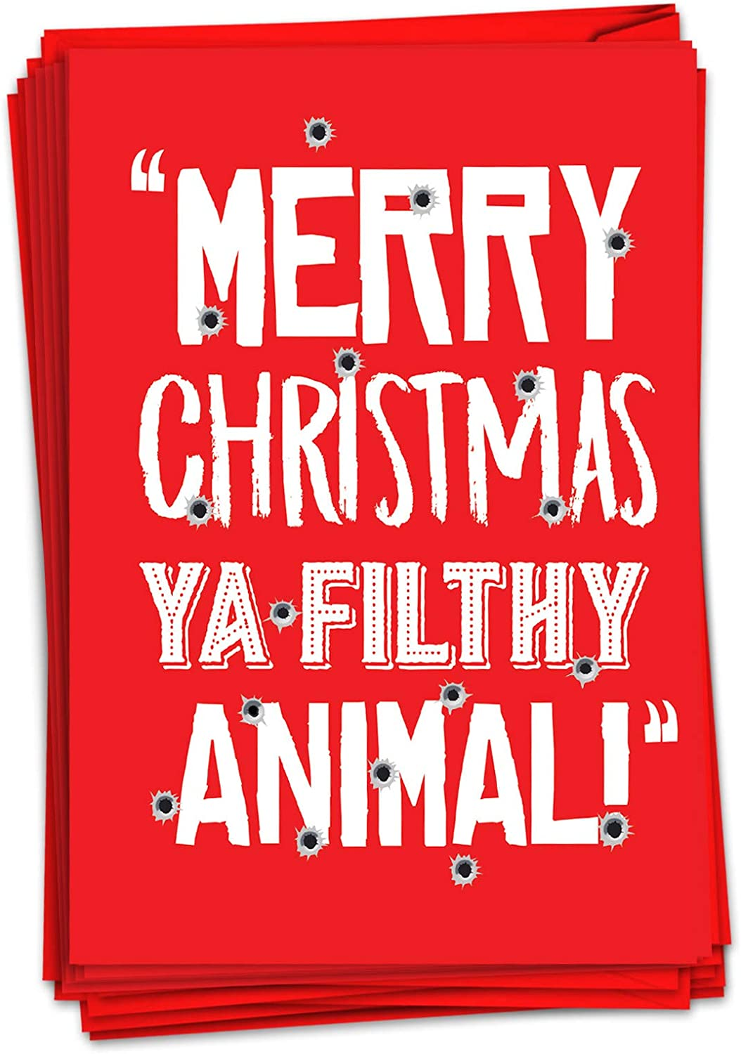 NobleWorks - 12 Funny Christmas Greeting Cards - Inappropriate Boxed Xmas Holiday Cards, Adult Humor with Envelopes (1 Design, 12 Cards) - Filthy Animal C7067XSG-B12x1