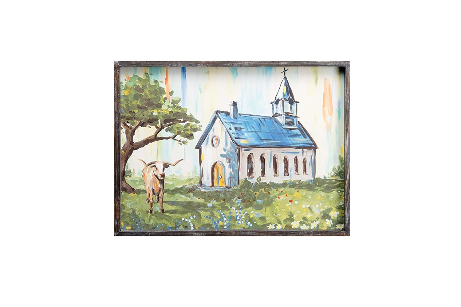 Glory Haus 11100001 Blue Roof Church Framed Canvas Multicolor