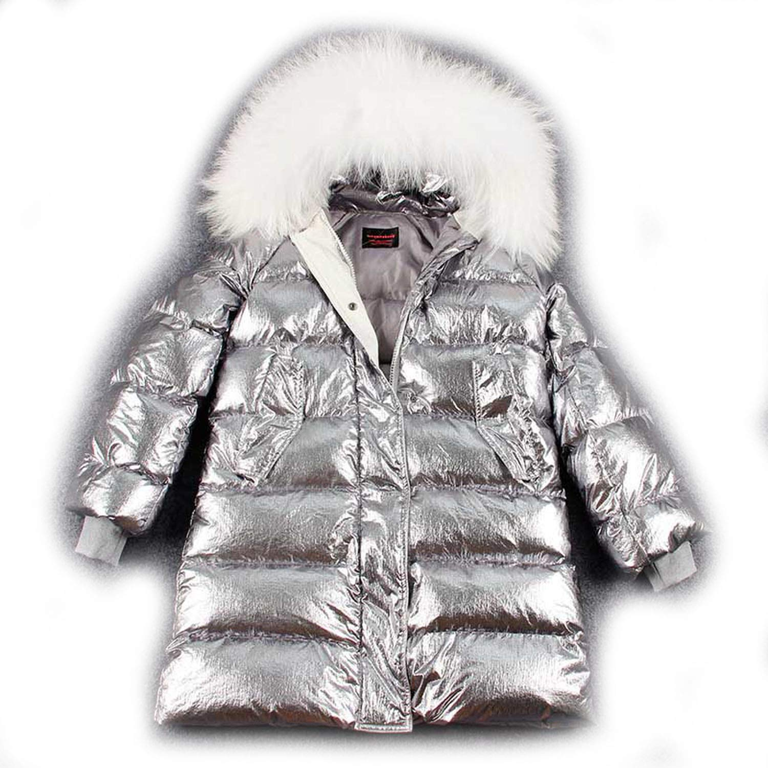 Amazon Com Real Fur Collar Duck Down Coat Silver Parka Long