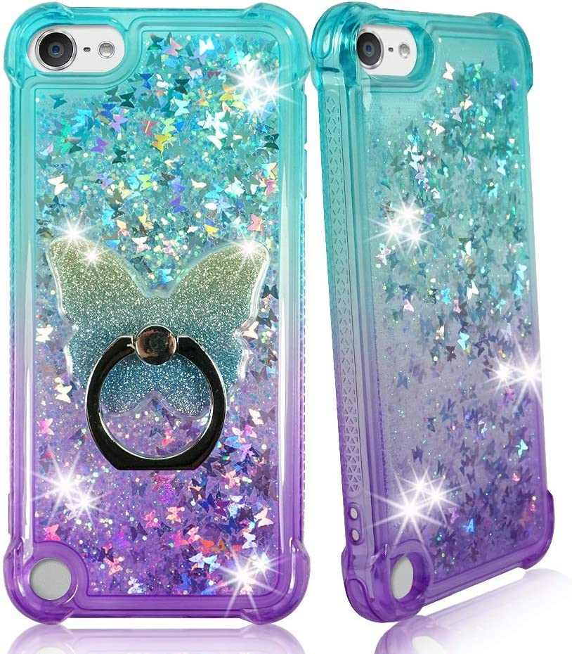 ZASE Design Case Compatible for Apple iPod Touch 7th, 6th, 5th Gen Liquid Glitter Sparkle Bling Shockproof Cute Floating 3D Butterflies Quicksand w/Phone Ring Holder Stand (Gradient Aqua Purple)