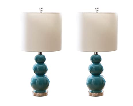 Abbyson Camden Gourd Table Lamp, Set Of 2, French Blue