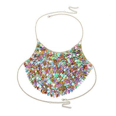 f55c93cc6240d4 Amazon.com  ZHUOTOP Women Bohemian Sequins Halter Vest Body Chain Set Sexy  Beachwear Jewelry Colorful  Jewelry