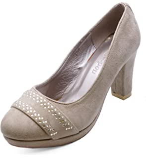 5283fdcf58 HeelzSoHigh Ladies Beige Comfy Work Slip-On Casual Smart Party Prom Court Shoes  Sizes 2