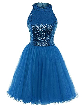 5163a33754e Homecoming Dress Cocktail Dresses Short Sequin Halter Open Back Evening Party  Dress A line Blue US2