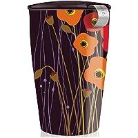 Tea Forté KATI Tazza da tè in ceramica con infusore e tappo, teiera per tè in foglie - Prati di papavero