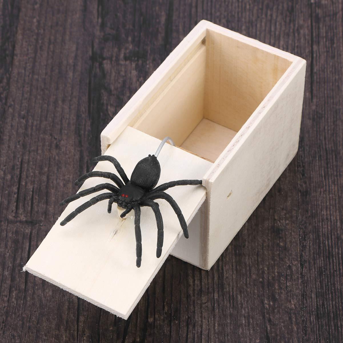 TOYANDONA scatola a sorpresa in legno ragno scherzo scatola spaventosa giocattolo insidioso giocattoli ragno lavagna bianca, ragno
