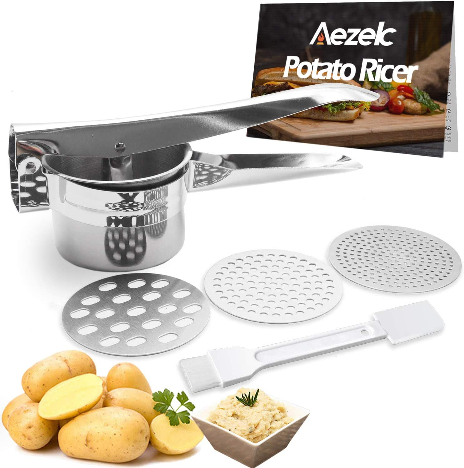 Aezek Potato Ricer and Masher, Makes Light and Fluffy Mashed Potato Perfection, Hand held Kitchen Press Gadget Stainless Steel - Excellent Baby Food Mill and Vegetable Strainer - Fruit Juicer