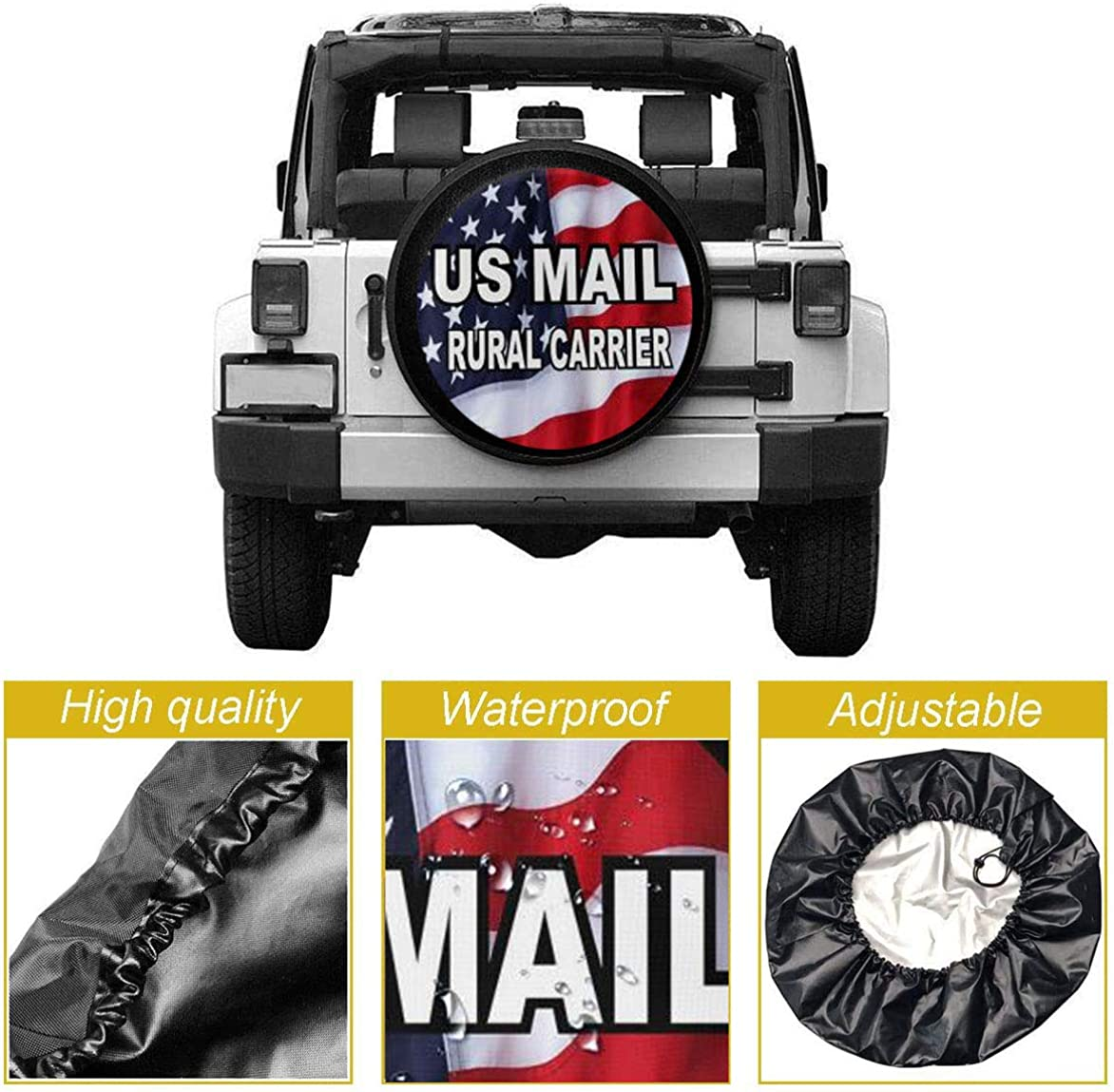 MSGUIDE US Mail Rural Carrier Spare Wheel Tire Cover Weatherproof Tire Protectors for Jeep Trailer RV SUV Truck and Many Vehicles 14 15 16 17
