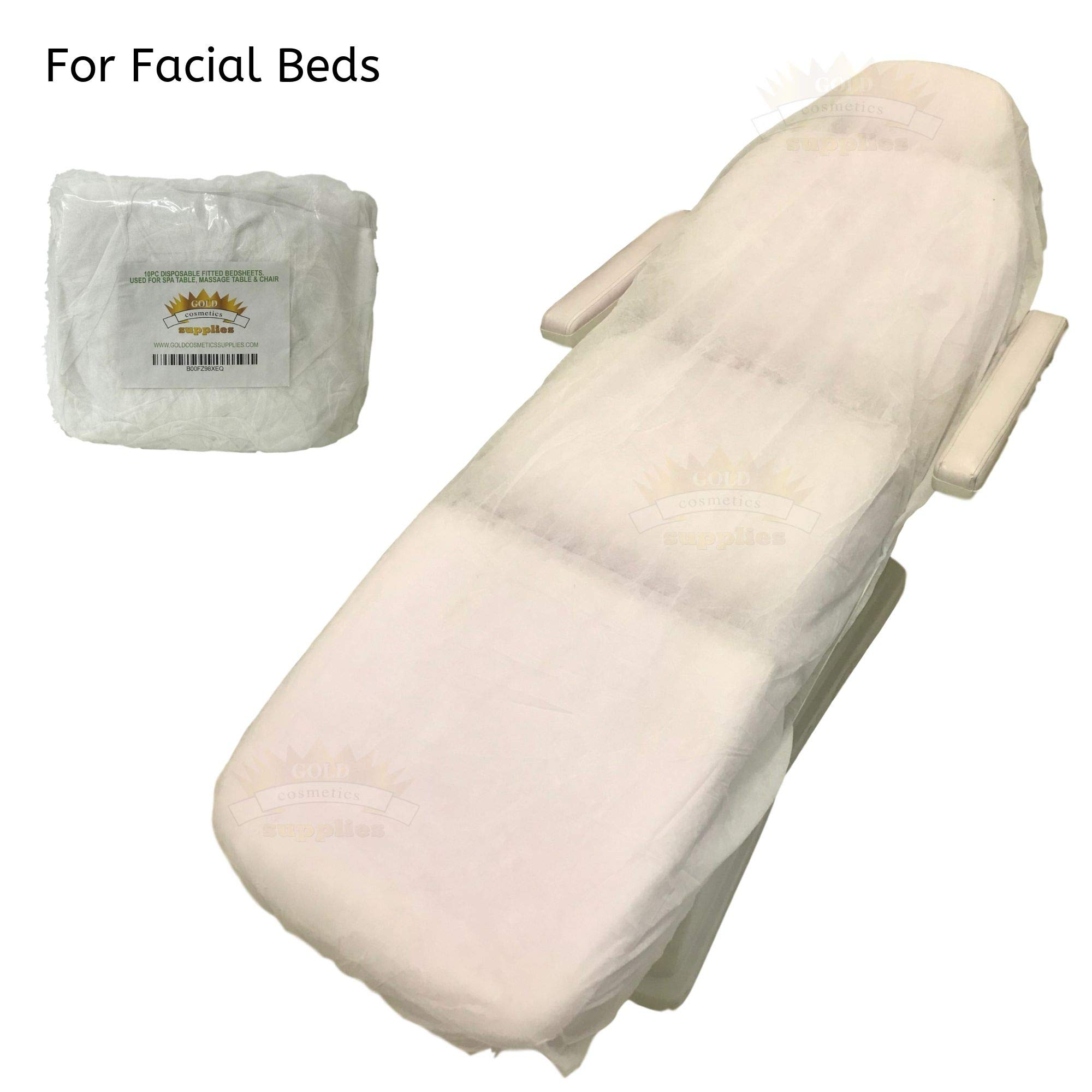 100 Ct. White Disposable Elastic Fitted Bed Sheets for Cover Massage Table Facial Chair Spa by Gold Cosmetics & Supplies