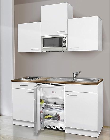 respekta Küchenblock 10 cm weiß weiß mit APL Butcher Nussbaum inkl.  Mikrowelle KB 10 WWMI