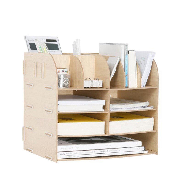 Hand Made Desk Organizer Office School Supplies 13 Blocks File Tray Book Holder Storage File/document Box