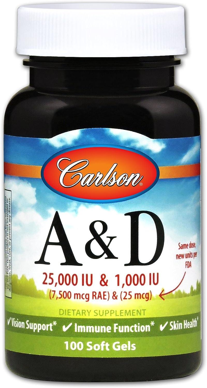 Carlson - A & D, 25000 IU & 1000 IU, Vision Support, Immune Function & Skin Health, 250 Soft gels