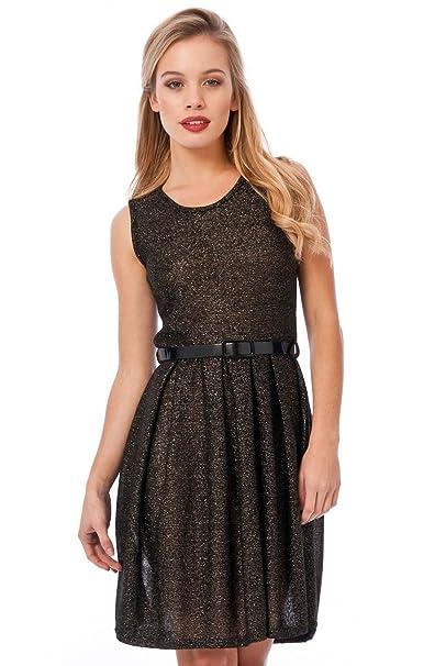Vestido de estilo festivo con cinturón negro brillante sin mangas, para fiestas, fiestas,